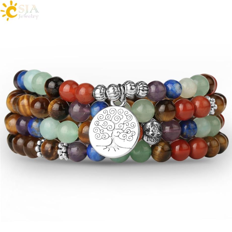 7 Chakras Tiger Eye Bracelets 108 Mala Yoga 6mm Beads Tibetan Buddhist Femme Pulseras Mujer Bracelet Pierre Naturelle S558