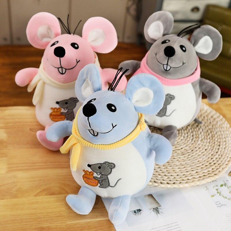 23-35cm Lovely Cartoon Fat Grey Rat Pillow Stuffed Animal Plush Toys For Girls Children Boys Toys Cute Mouse Doll Birthday Gift