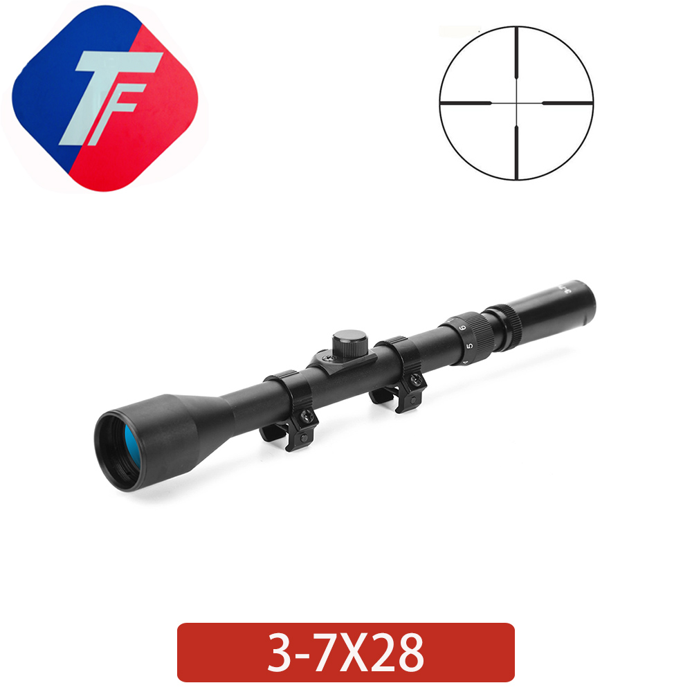 3-7X28 Holographic Tactical Optical Rifle Mirror With 11MM Rail Mounted Crosshair Hunting Rifle Mirror Discovery Range