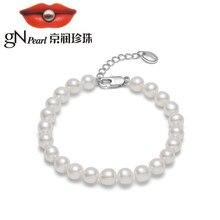 GN perle 6-7mm véritable blanc naturel perle d'eau douce Bracelets 17CM + 3CM chaîne réglable gNPearl Fine bijoux pour les femmes cadeau