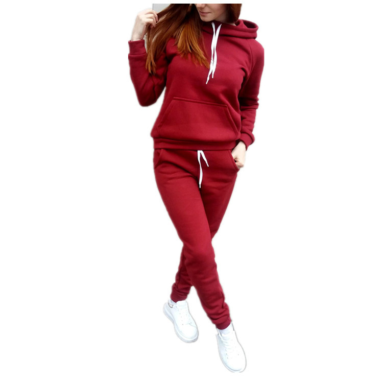 Autumn And Winter New Style European And American-Style Fleece Long-Sleeve Hooded Sports Suit Women's