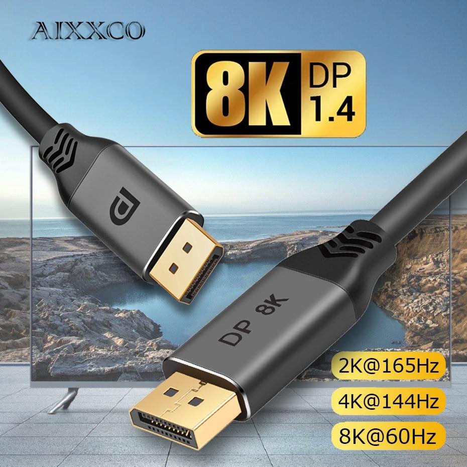 Кабель AIXXCO DisplayPort 1,4, 8K, 4K, HDR, 165 Гц, 60 Гц, адаптер порта дисплея для видео, ПК, ноутбука, ТВ, DP 1,4, 1,2, кабель порта дисплея 1,2