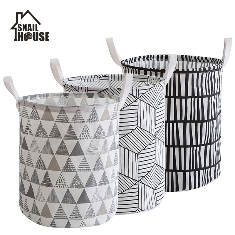 Snailhouse Laundry Hamper Dirty Cloth Basket Printing Waterproof Washing Bag Foldable Storage Organizer Save Space Bathroom Home