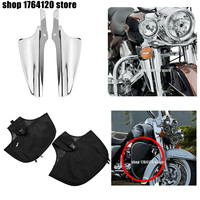 Front Fork Mount Wind Deflectors + Soft Lowers Chaps Leg Warmer For Harley Touring Road King Street Glide FLHX 1995 2020