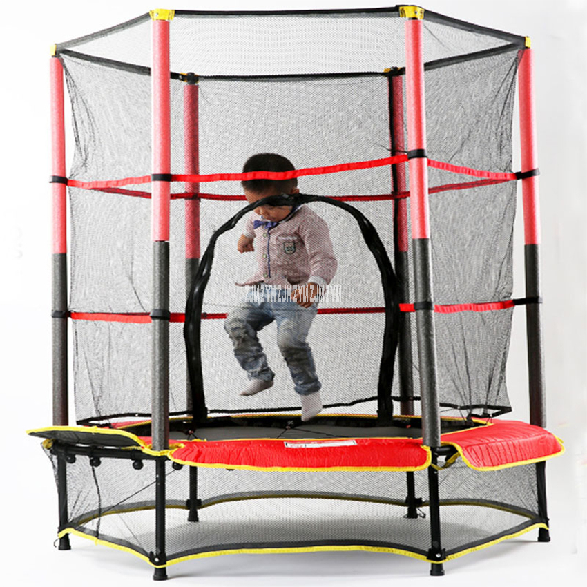 MK-55 Children's Safe Trampoline Household Round Bounce Bed With Protective Net Bouncing Jumping Bed Indoor Fitness Equipment
