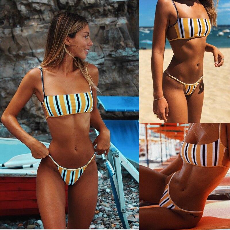 women sexy bandeau bikini set 2019 new high cut brazilian swimwear solid backless Bikinis maillot de bain stripe print swimsuit-1