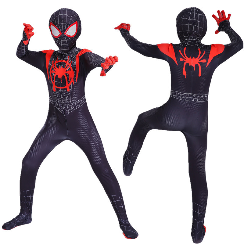 2019 Kids Spider-Man Into the Spider-Verse Miles Morales Cosplay Costume Zentai Spiderman Pattern Bodysuit Suit Party Jumpsuits image