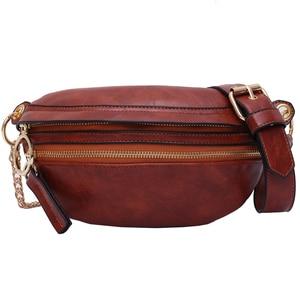 Image 5 - [BXX] Retro deri kadınlar için Crossbody çanta 2020 bayan askılı çanta katı renk çanta ve çantalar zincir göğüs çanta HI751
