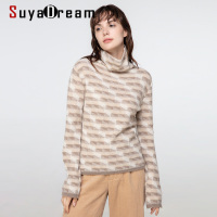 SuyaDream woman sweaters 100%Cashmere Turtleneck Pullovers Long Sleeve Argyle Pattern Warm Sweaters 2020 Fall Winter Knit Top