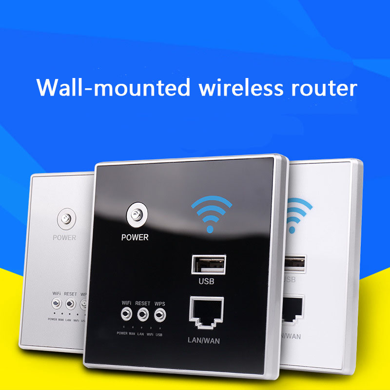 300Mbps 220V Power AP Relay Smart Wireless WIFI Repeater Extender Wall Embedded 2.4Ghz Router Panel Usb Socket Rj45