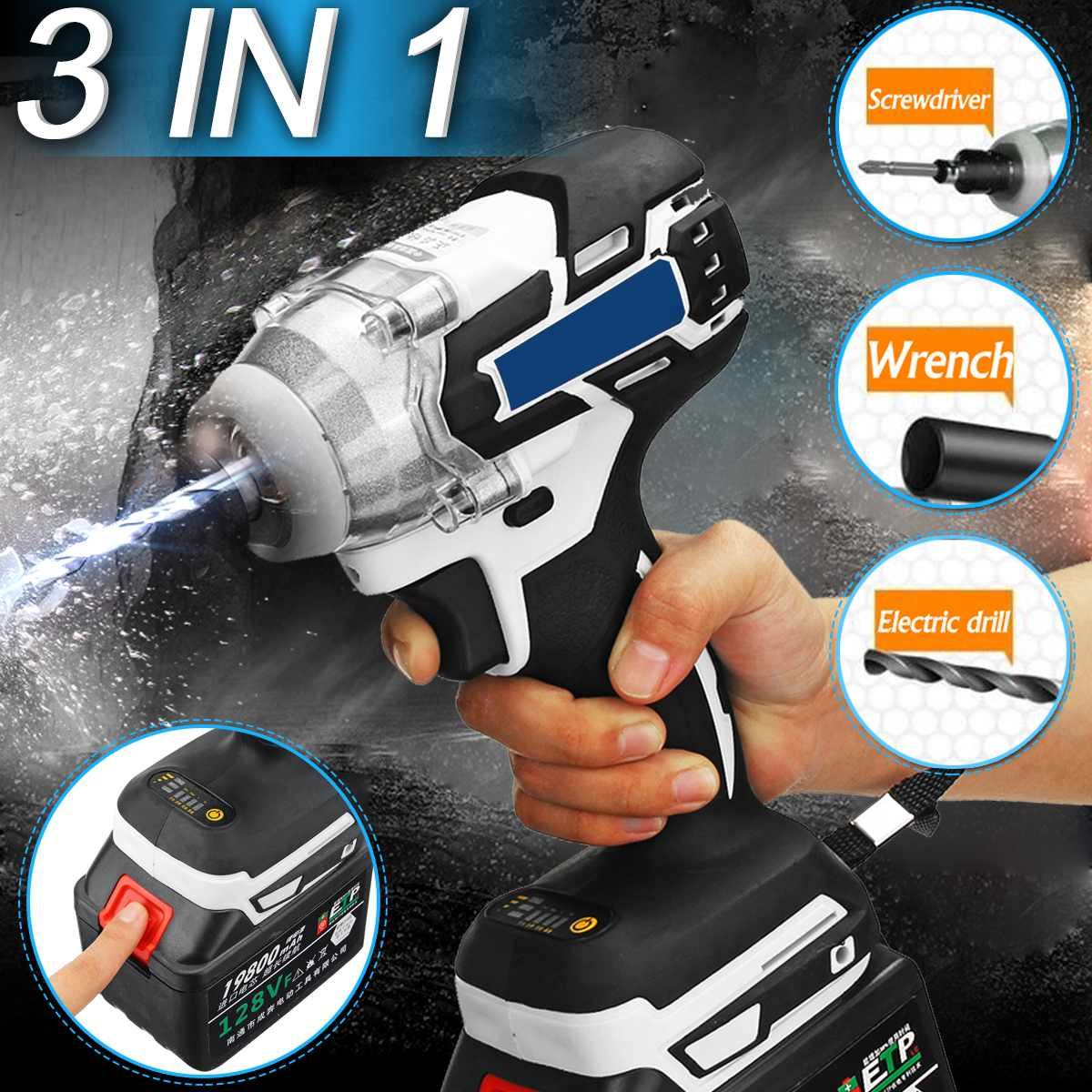 3 IN 1110-240V 1280W Electric Cordless Brushless Hammer Drill Screwdriver 10000mAh Impact Drill Power Tools Adjustable 240-520NM