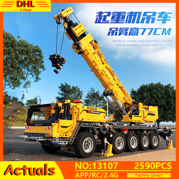 Lepining 20004 APP RC Technic Car Motor Power Mobile Crane Mk II Model Building Blocks Bricks Compatible with 42009 Toys Gifts image