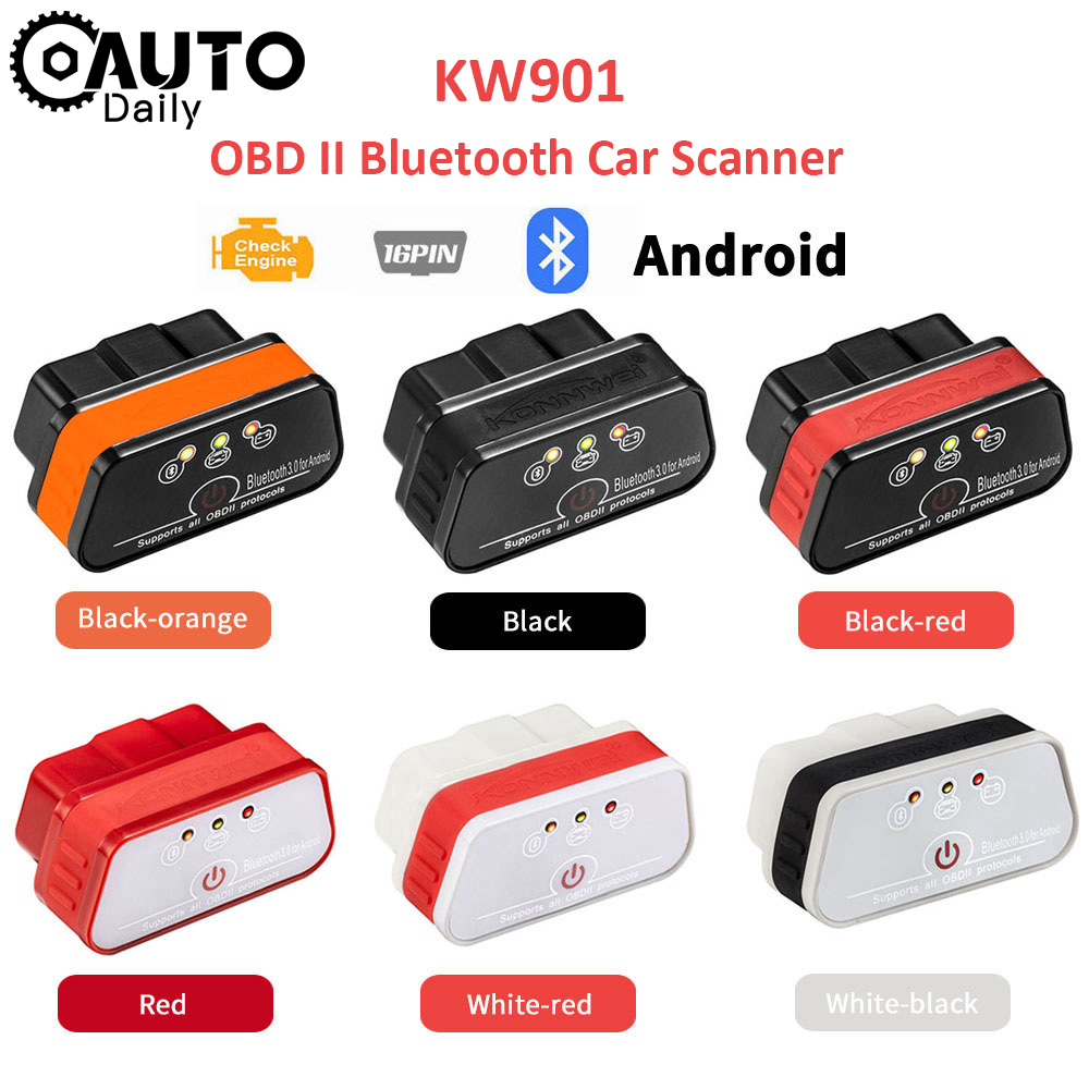 KONNWEI KW901 ELM327 V1.5 Bluetooth 3.0 OBD II Scanner Code Reader Car Diagnostic Tool Auto Detector for Android Free Update