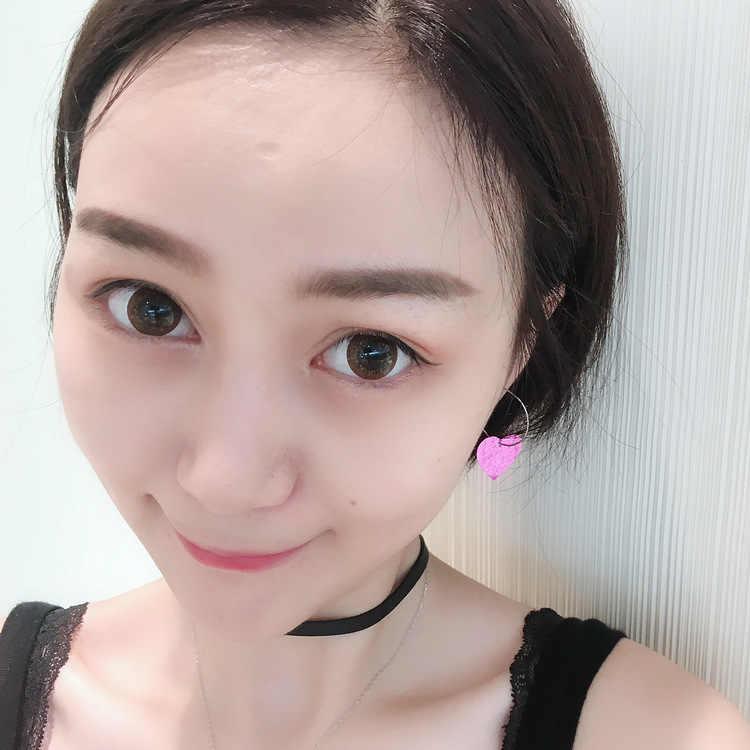 Versione giapponese E Coreana Del Dolce Po 'Di Fresco di Modo del Locale Notturno Carino Paillettes Rosa Amore Lucido Orecchini del Cerchio di Vendita Calda