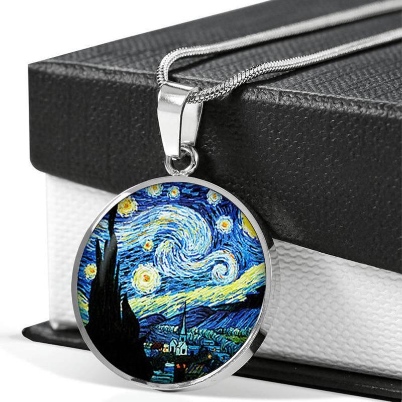 Ван Гог Звездная ночь колье-чокер с художественной фотографией с украшением в виде кристаллов стекло кабошон кулон на длинной цепочке, ювел...
