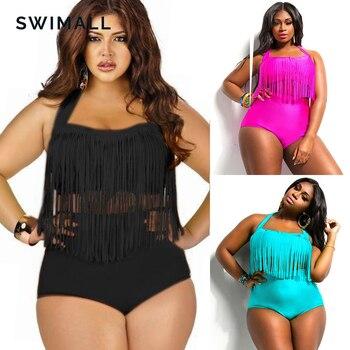 HOT Sale Plus Size Split Swimsuit Women Sexy Retro Padded Push Up Tassel High Waist Swimsuit Female biqiuni Bathing Suit 1