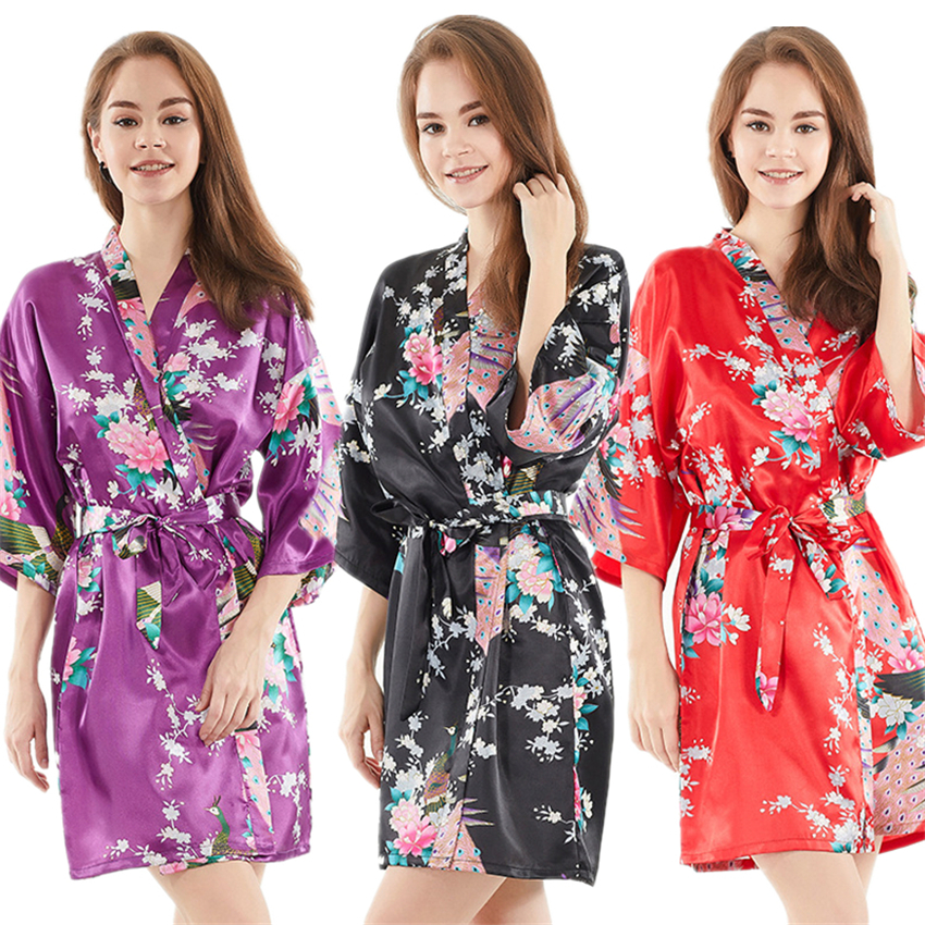 Women Chiffon Yukata Japanese Kimono Pajamas Floral Bathrobe Sleepwear Nightgown