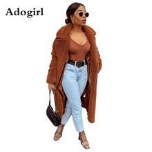 Women Open-Stitch X-Long Coat Winter Fashion Street Outfits Warm Long Jacket Brown Long Sleeve Turn-Down Collar Slim Tops new 2019 spring women geometric pattern fringed shawl turn down collar coat splices tassel open stitch long sleeve knit cardigan