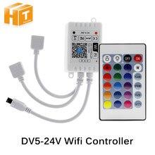 Contrôleur Wifi LED contrôleur rvb DC12V Mini 24 clé IR télécommande pour 2835 5050 RGB LED lumières de bande