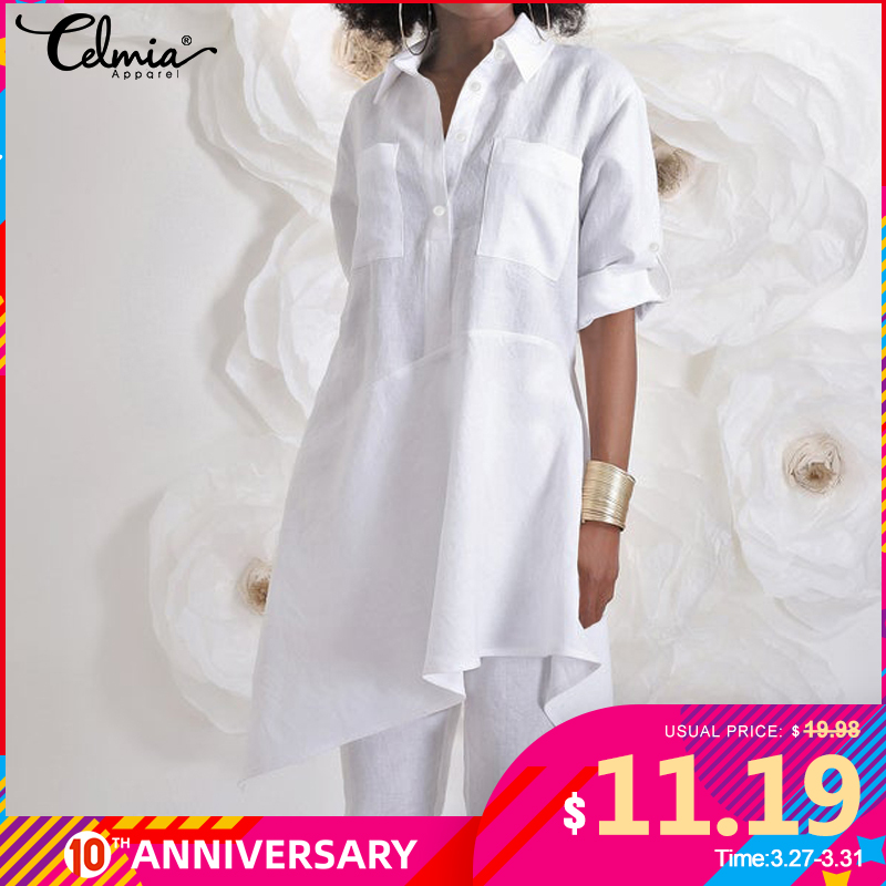 Fashion Tunic Shirts Celmia Women Asymmetrical Tops 2020 Autumn Long Sleeve Blouse Casual Loose Buttons Plus Size Blusas Mujer