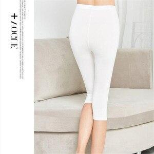 Image 3 - Legging dété XS 7XL pour femmes, pantalon court, mince, grande taille, extensible, gris noir blanc rose 6XL 5XL 4XL 3XL, 3/4