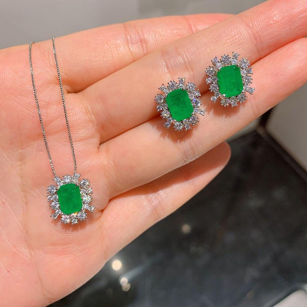 Vintage 925 Sterling Silver Emerald Gemstone Earrings Neckalce Sets Moissanita Wedding Engagement Fine Jewelry for Women