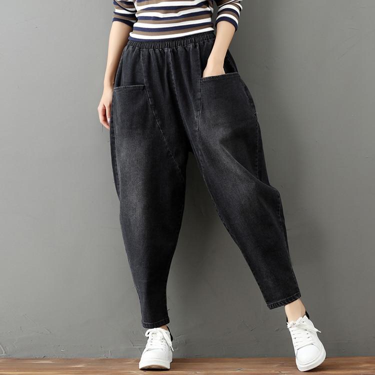 Women Denim   Jeans   Elastic Waist Black Harem Pants Plus Size Washed   Jeans   Loose Footed Baggy Carrot Pants 2019