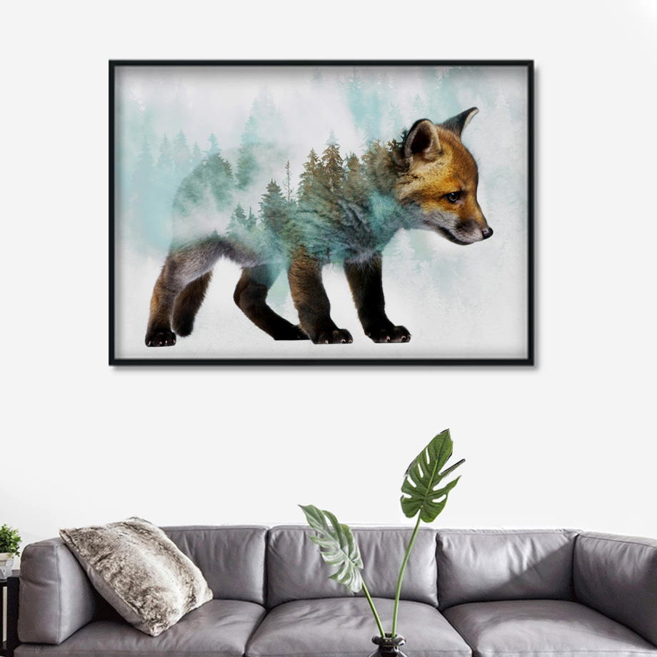 Landscape Forest Bear Fox Wolf Nordic Posters And Prints Wall Art Canvas Painting Abstract Animal Wall Pictures For Kids Room