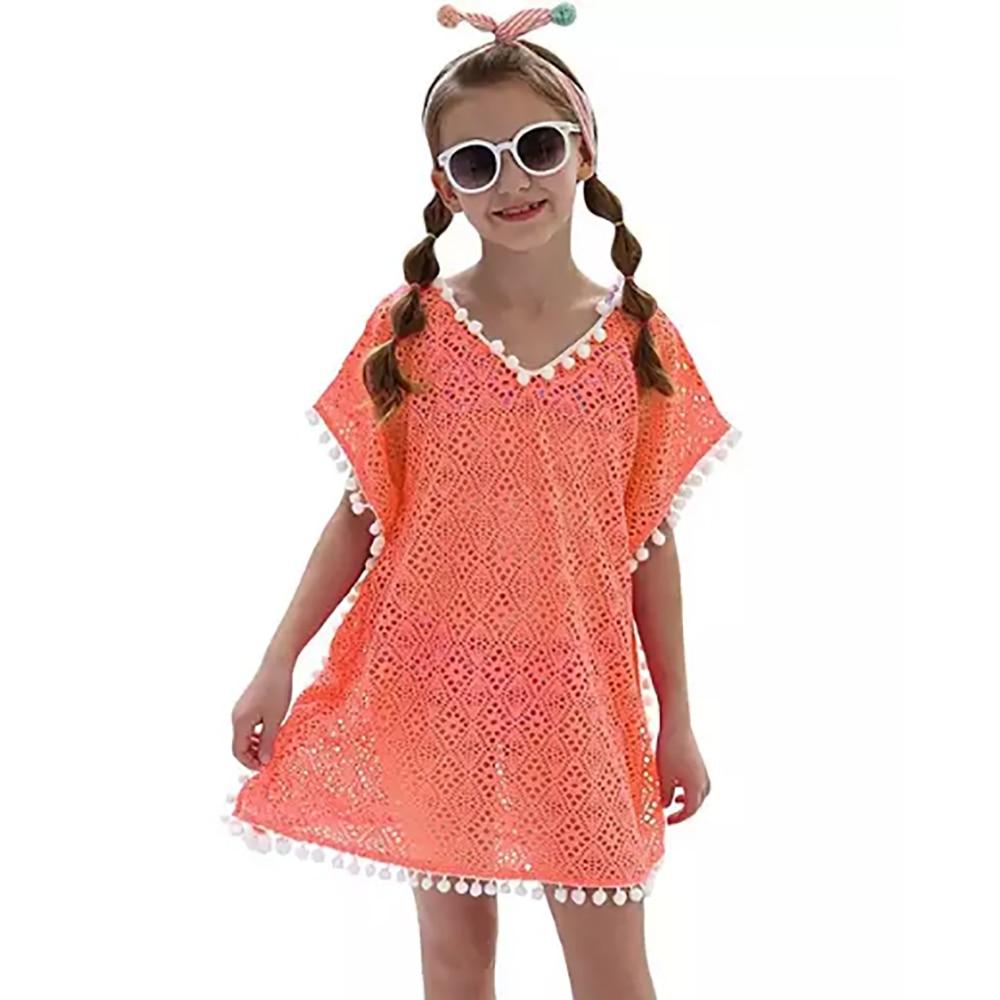 Girls One Piece  Cover Up Beach Dress Loose Swimming Cover Ups For Girls Kid купальники Cover Up Dress Saida De Praia