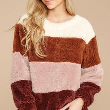 Long Sleeve Color Block Sweater Casual Knitted Striped Plush Pullovers casual striped color block dress