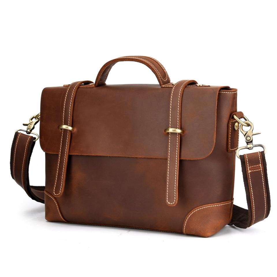 Business Men Briefcase Genuine Leather Brand Laptop Briefcase Crazy Horse Leather Man Bag Casual Shoulder bags Handbag Bolsa