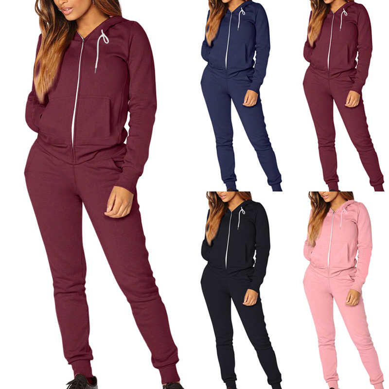 Vertvie Women Athletic Tracksuit Winter Warm Running Set Zipper Jogging Sportswear For Female Hooded Sweat Suit Casual Loose