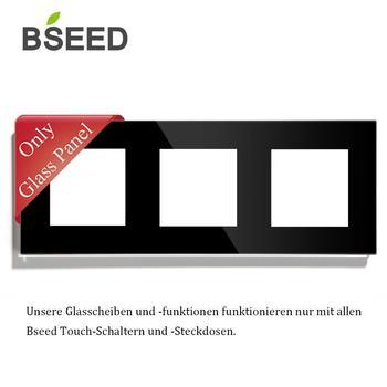 BSEED DIY Reino Unido estándar de la UE DIY de perlas de cristal de vidrio de 228mm de doble Panel de vidrio blanco negro dorado enchufe de pared