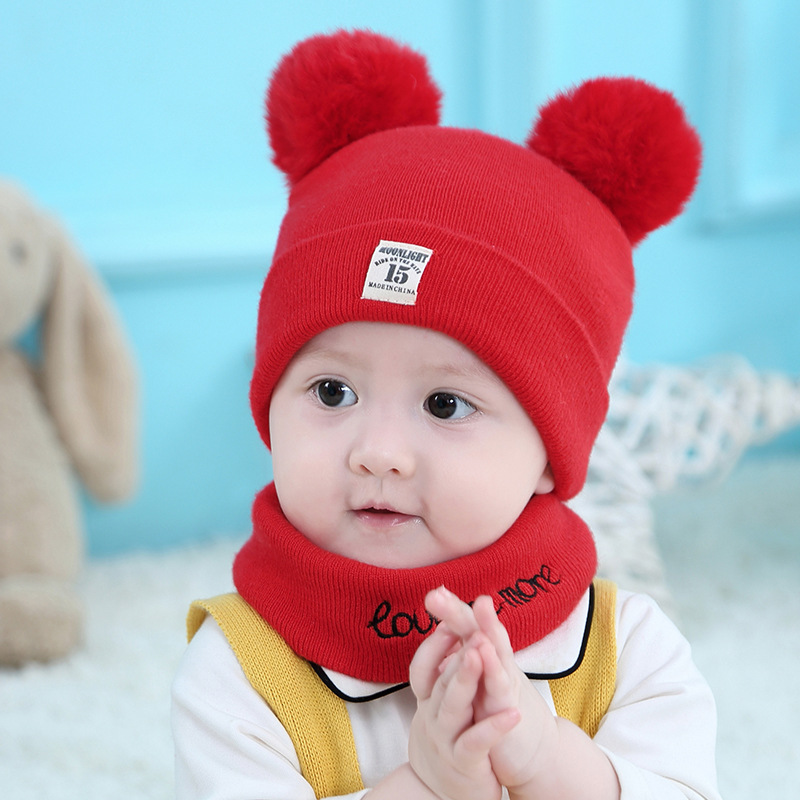 Children's Hat Scarf Autumn And Winter Newborn Wool Hat Scarf Set Korean Baby Wool Hat Baby Knitted Soft Ball Hat