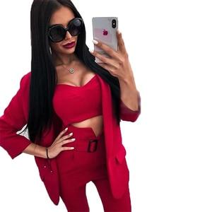 Image 2 - TAOVK Women Suits Female Pant Suits Office Lady Formal Business Set Uniform Work Wear Blazers Camis Tops and Pant 3 Pieces Set