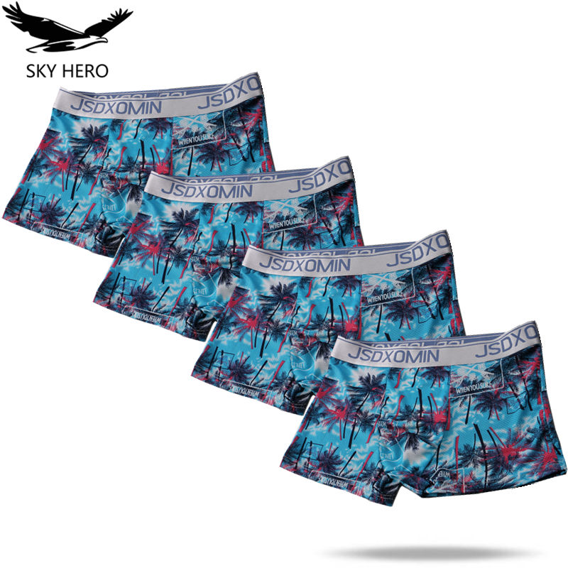 4pack/lot Underpants Men Boxer Homme Sexy Boxershort Mens Underwear Boxers Ice Silk Man Slip Homme Funny Mesh Panties
