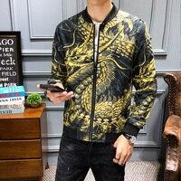 Streetwear Dragon Print Vintage Jacket Coat Mens Jackets Jaqueta Masculina Chinese Style Hip Hop Bomber Jacket Men Clothing 2019