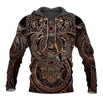цена на 2020 Newest Fashion Viking Tattoo 3D All Over Printed Men Hoodies Harajuku Fashion Sweatshirt Unisex Casual Zip Hoodie tops
