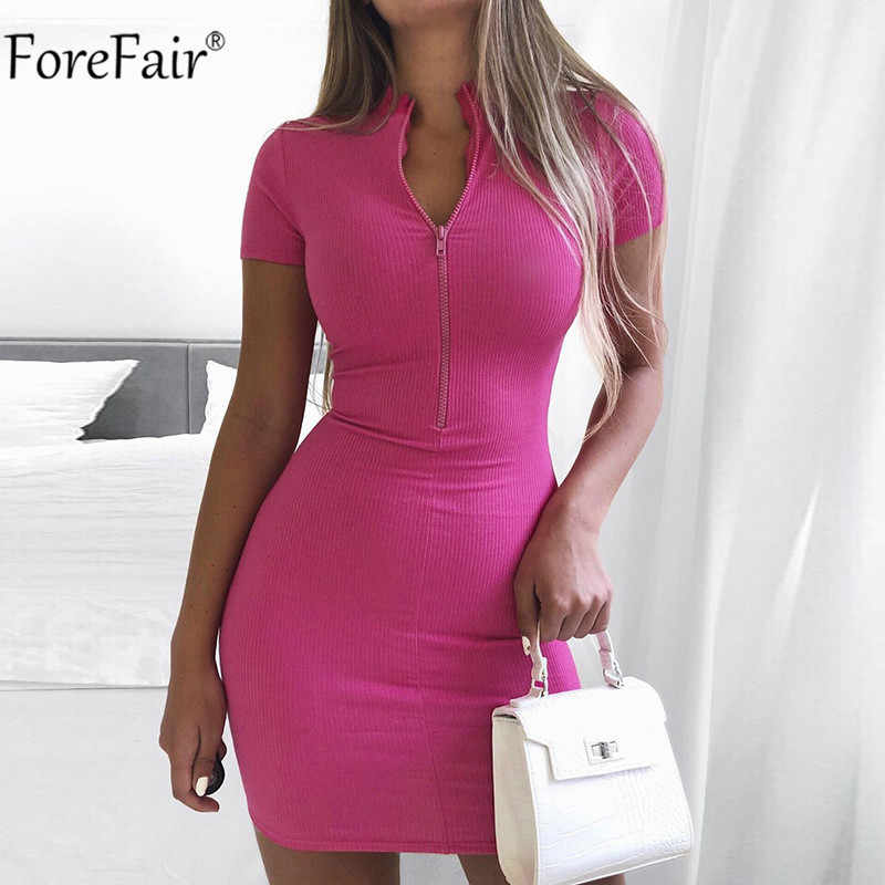 Forfair زمم مثير Bodycon فستان أسود صغير الصيف 2020 قصيرة الأكمام النساء كلوبوير الزي ريبر فساتين الحفلات