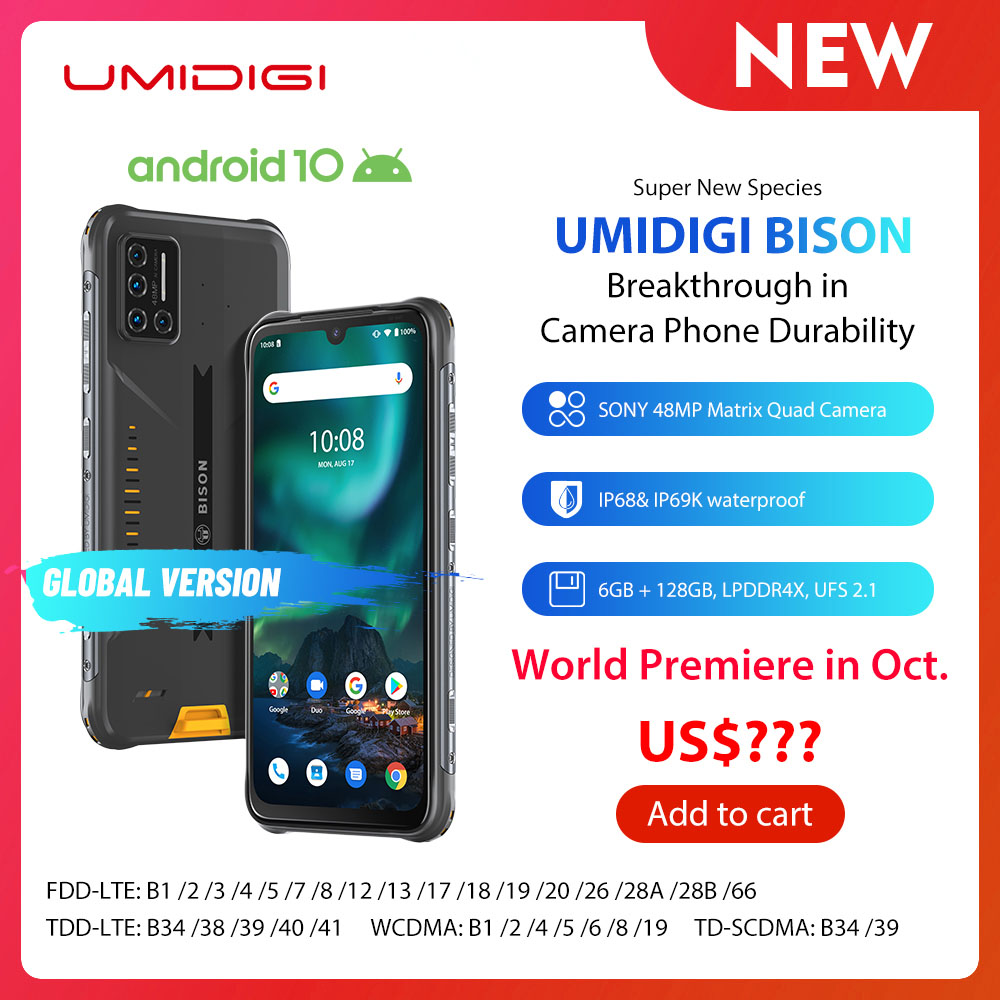 "UMIDIGI BISON IP68/IP69K Wasserdichte Robuste Telefon 48MP Matrix Quad Kamera 6.3 ""FHD + Display 6GB + 128GB NFC Android 10 Smartphone"