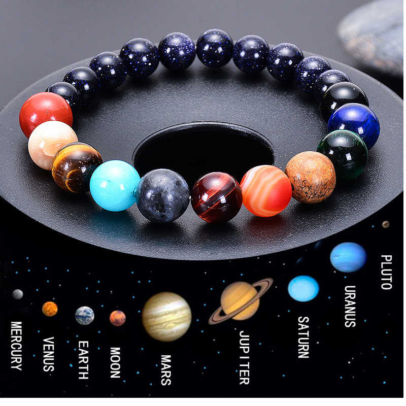 Men Bracelet for Men Women  Natural Stone Beaded  Chakra Yoga  Bracelet Universe  Solar System Planets Bracelets Charm Jewelry