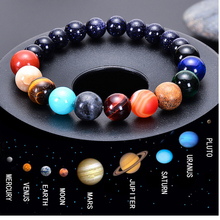 Pulsera de hombre para hombres mujeres Piedra Natural cuentas Chakra Yoga pulsera universo Sistema Solar planetas pulseras encanto joyería