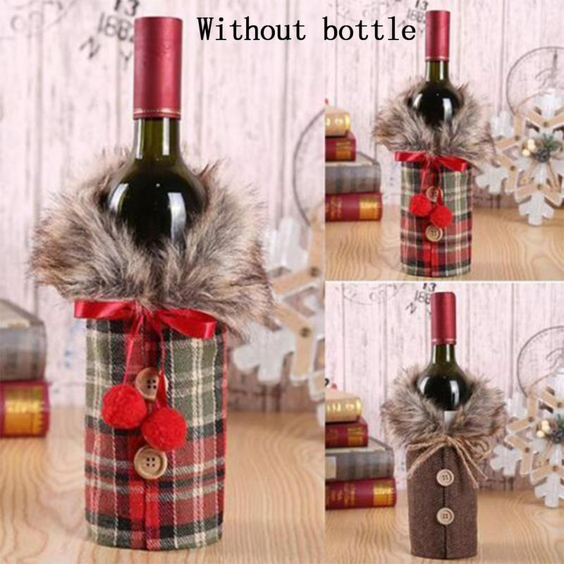 Christmas Wine Bottle Cover Bags Santa Claus Wine Bottle Cover Gift Bag Christmas Dinner Party Xmas Table Decor
