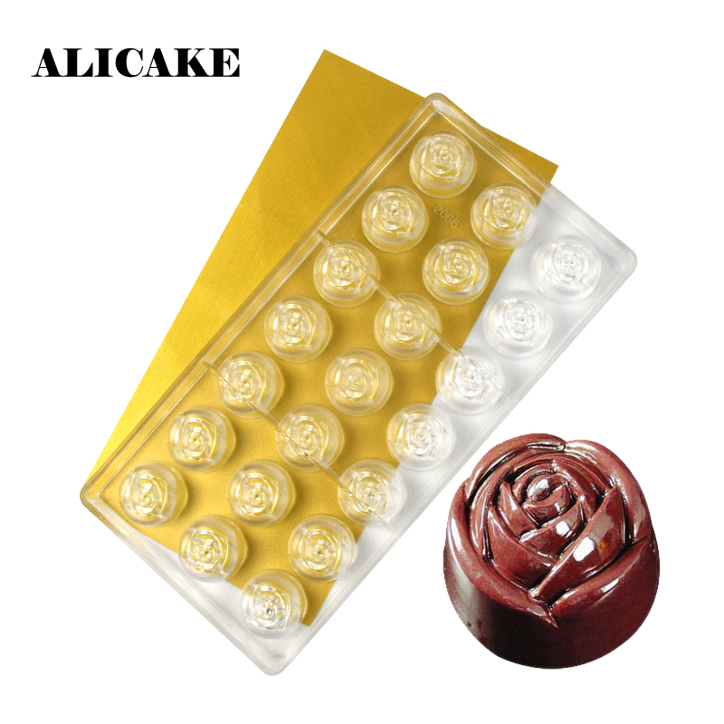 3D Chocolate Bar Mold Polycarbonate Rose Flowers Baking Molds Plastic Chocolate Candy Form Mould Baking Pastry Bakery Tools