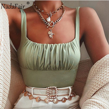 Nadafair Square Collar Ruched Solid Women Crop Tops Summer Backless Club Slim Cropped Off Shoulder Tank Sexy Woman Tops