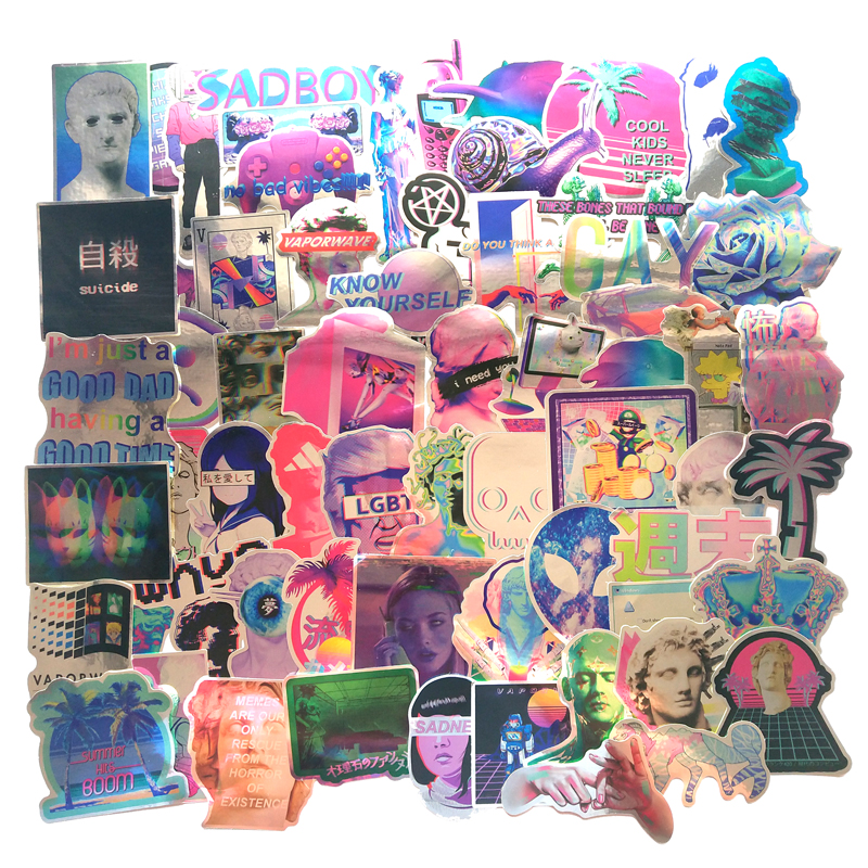 65Pcs Psychedelic Style David Graffiti Colorful PVC Sticker For Skateboard Suitcase Laptop Lagguage Car Stickers