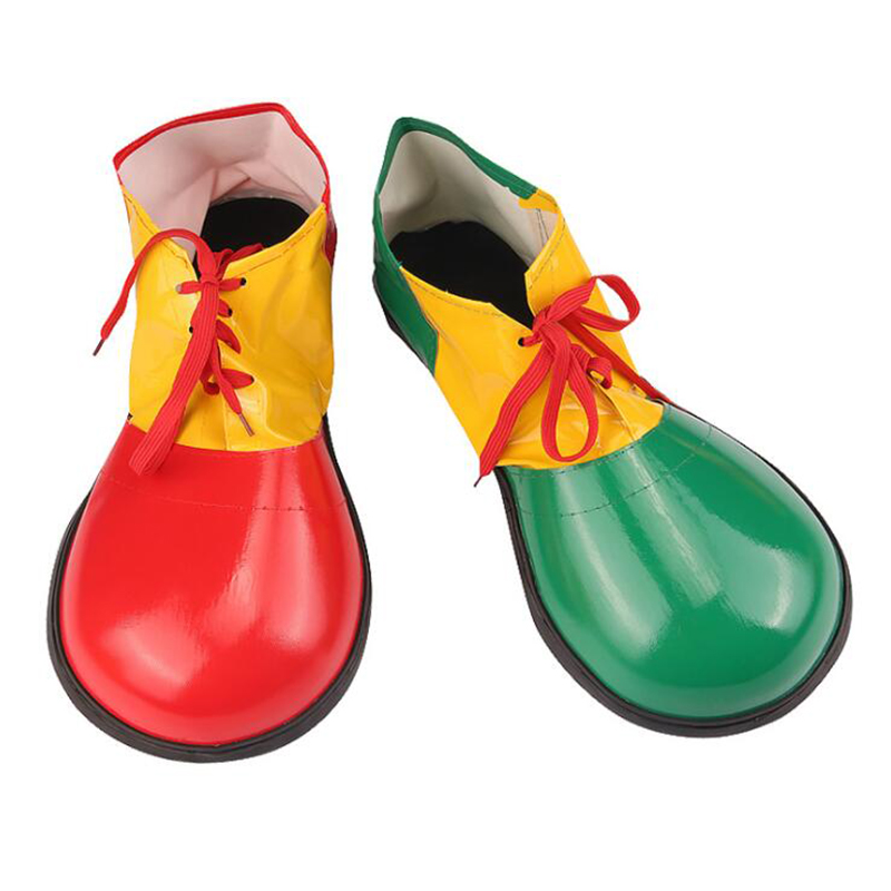 Halloween Funny Colorful PU Clown Shoes Adults Magic Cosplay Shoes Performance Costume Props Masquerade Party Dress Up Decorate
