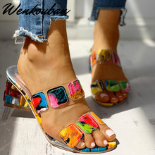 Kristal Sandalen Vrouwen Vierkante Hakken Zomer Sandalen Peep Toe Dames Multi Kleuren Wedge Schoenen Sandalias De Verano Para MujerHoge Hakken