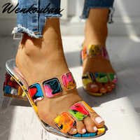 Sandálias de cristal feminino saltos quadrados sandálias verão peep toe senhoras multi cores sapatos cunha sandalias verano para mujer