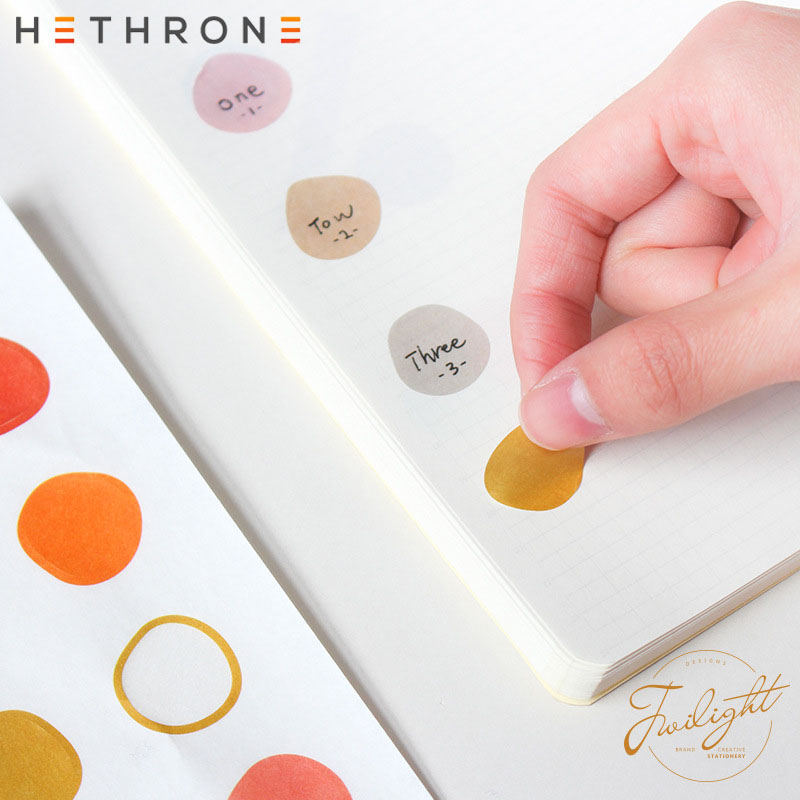 Hethrone Cute Cartoon Colorful Irregular Round Paper Label Sticker Hand Account Sticker DIY Bullet Journal Stickers Decorative M